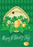 Holiday card with calligraphic words Happy St. Patrick`s Day. Royalty Free Stock Photography