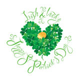 Holiday card with calligraphic words Irish and Lucky, Happy St. Patricks Day. Shamrock heart with golden coin  on white background Royalty Free Stock Images