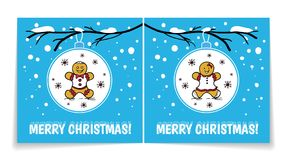 Holiday card with Christmas balls on snowy branch. Illustration with gingerbread man and woman. Cover and back of card. Royalty Free Stock Photography