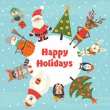 Holiday card with Christmas characters Stock Photo