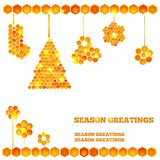 Holiday card with christmas honey icons Stock Photos