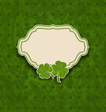 Holiday card with clovers for St. Patricks Day Royalty Free Stock Images