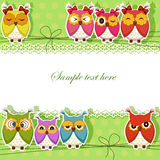 Holiday Card with colorful owls Stock Images