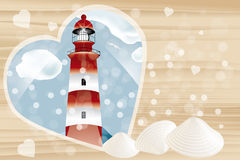 Holiday card with copy space. Holiday card template without text with lighthouse framed by heart on wooden background and copy space - eps 10 vector vector illustration