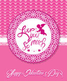Holiday card with cute angel and round ornamental frame on pink stock illustration