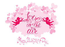 Holiday card with cute angels on hearts pink background. Hand wr Royalty Free Stock Photos