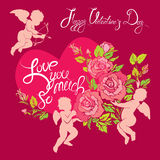 Holiday card with cute angels, roses flowers and heart  Royalty Free Stock Images