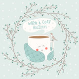 Holiday card with cute cup of tea in blanke Royalty Free Stock Image