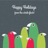 Holiday card with cute family of birds Stock Photo
