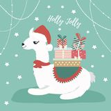 Holiday card with cute lama and presents.  Royalty Free Stock Photos