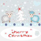Holiday card with cute sheep and congratulations. On a gray background Royalty Free Stock Photo