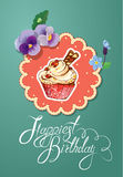 Holiday card with decorated sweet cupcake, flovers Royalty Free Stock Image