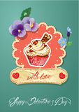 Holiday card with decorated sweet cupcake. Flovers, vintage frames and calligraphic text with love, Happy Valentines Day Royalty Free Stock Photography
