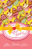 Holiday card with decorated sweet cupcakes background, lace fram Royalty Free Stock Image