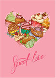 Holiday card with decorated sweet cupcakes in heart shape. And calligraphic text SWEET LOVE - Valentines Day, wedding design Royalty Free Stock Image