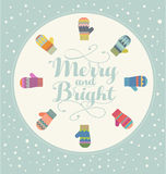 Holiday card design with colorful mittens Merry and Bright Stock Photography