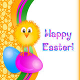 Holiday card for Easter with painted eggs and little yellow chicken Stock Images
