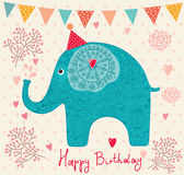 Holiday card with elephant. Card for the holiday with lovely elephant Stock Image