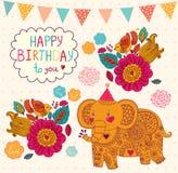 Holiday card with elephant Stock Image