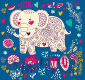 Holiday card with elephant Royalty Free Stock Photography