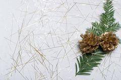 Holiday card with fir branch and golden cones. Small fir branch, golden cones on spangled holiday napkin stock images