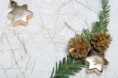Holiday card with fir branch, star ornaments and golden cones. Small fir branch, golden cones amd ornament stars on spangled holiday napkin Royalty Free Stock Photography