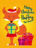Holiday card with fox Royalty Free Stock Photo