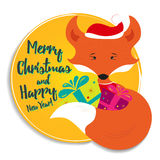 Holiday card with fox Stock Photo