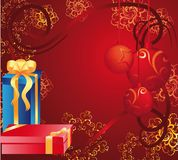 Holiday card with gifts Royalty Free Stock Photography