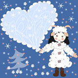 Holiday card, a girl dressed as a sheep Stock Photography