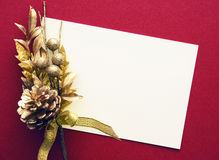 Holiday card with gold ribbon Royalty Free Stock Image