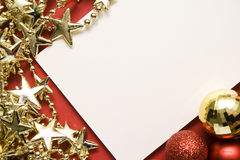 Holiday card with gold stars Stock Images