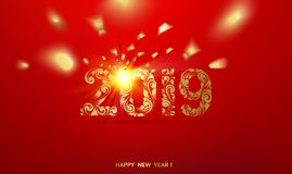The Holiday card. Holiday card. Gold template over red background with golden sparks. Happy new year 2016. Red underwater abstraction. Fallen sparks and sun vector illustration