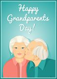 Holiday card. Grandparents Day. Married couple. Grandmother and grandfather. Card. Congratulations to the parents. Royalty Free Stock Images