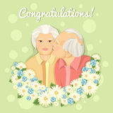 Holiday card. Grandparents Day. Married couple. Grandmother and grandfather. Card. Congratulations to the parents. The inscription. Love. Long-term relationship Stock Photo