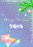 Holiday card for greeting with Happy New Year and Merry Christmas Stock Images