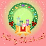 Holiday card for greeting with Happy New Year and Merry Christmas. Vector illustration Stock Photo