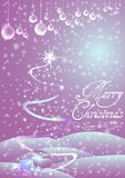 Holiday card for greeting with Happy New Year and Merry Christmas. Vector illustration Stock Photos