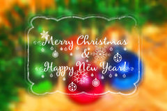 Holiday card for greeting with New Year and Christmas. Holiday card for greeting with Happy New Year and Merry Christmas on colorful blurred background. Vector Stock Photos