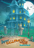 Holiday card for Halloween with a strange and mysterious house with ghosts.  Stock Image
