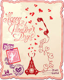 Holiday card with hand written text Happy Valentin Royalty Free Stock Image