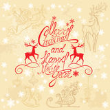 Holiday card with hand written text Merry Christma Stock Photo
