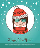 Holiday card  Happy New Year with girl Santa Claus in red hat and glasses Stock Photo