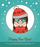 Holiday card  Happy New Year with girl Santa Claus Stock Photography