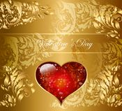 Holiday card with heart stock illustration