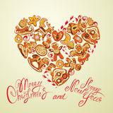 Holiday card. Heart shape with xmas gingerbread - reindeer, star. Moon, people, house. Calligraphic text Merry Christmas and Happy New Year Stock Photos