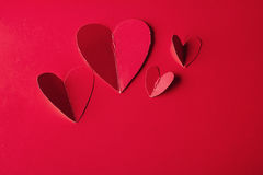 Holiday Card. Heart for Valentines day. Red hearts on a  back Stock Photos