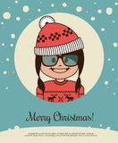 Holiday card with hipster girl in red Canta Claus hat and Christmas sweater Stock Image