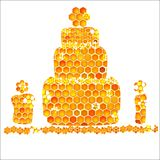 Holiday card with icons of honey birthday Royalty Free Stock Photo