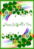 Holiday card with lucky clover ornament on white background for St. Patrick's Day. March 17 Royalty Free Stock Image